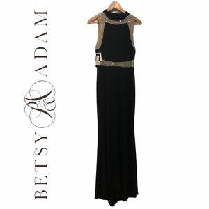 BETSY & ADAM (NWT) Formal Long Black Beaded Sleeveless Dress